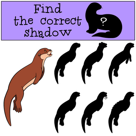 otter: Educational game: Find the correct shadow. Little cute otter swims and smiles.