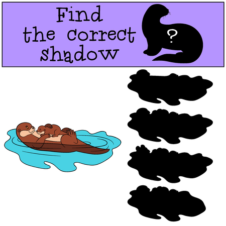 otter: Educational game: Find the correct shadow. Mother otter swims with her little cute baby and smiles.