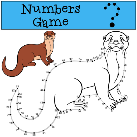 nutria caricatura: Juego educativo: Números juego con contorno. Poco nutria linda se coloca y sonríe.
