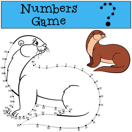 otter: Educational game: Numbers game with contour. Little cute otter stands and smiles. Illustration