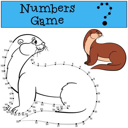 nutria caricatura: Juego educativo: N�meros juego con contorno. Poco nutria linda se coloca y sonr�e.