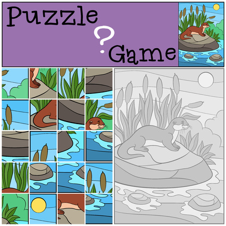 nutria caricatura: Education game: Puzzle. Little cute otter stands on the stone in the river and smiles.