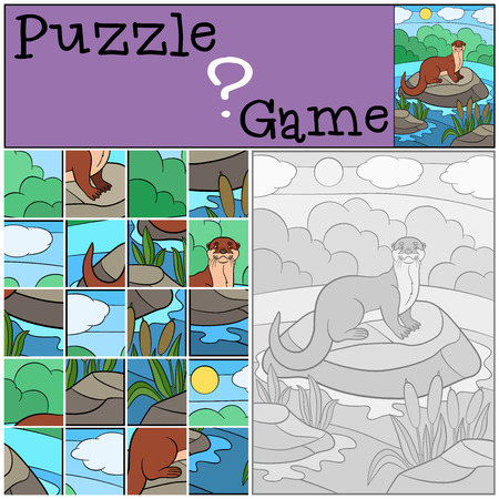 preliminary: Education game: Puzzle. Little cute otter stands on the stone in the river and smiles.