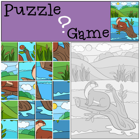 preliminary: Education game: Puzzle. Little cute otter sits on the tree branch in the river and looks at the flower.