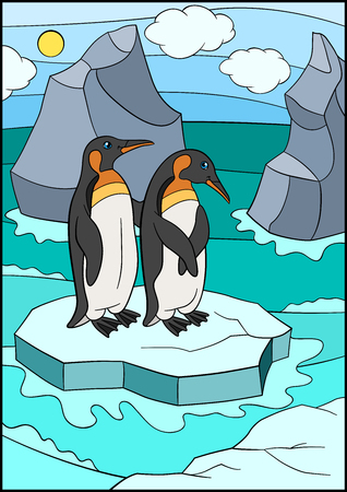 Cartoon birds. Two little cute penguins stand on the ice-floe in the ocean and smile.