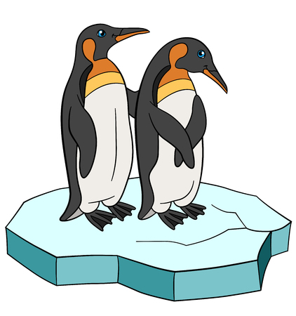 Cartoon birds. Two little cute penguins stand on the ice-floe and smile. Illustration