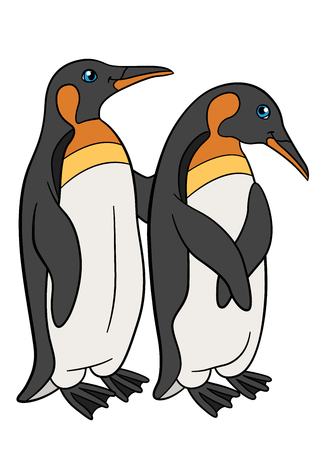 Cartoon birds. Two little cute penguins stand and smile. Illustration