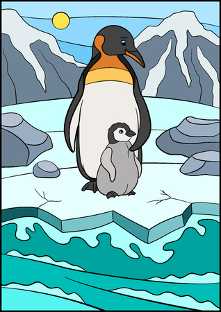 Cartoon birds. Mother penguin stands with her little cute baby on the ice and smiles.