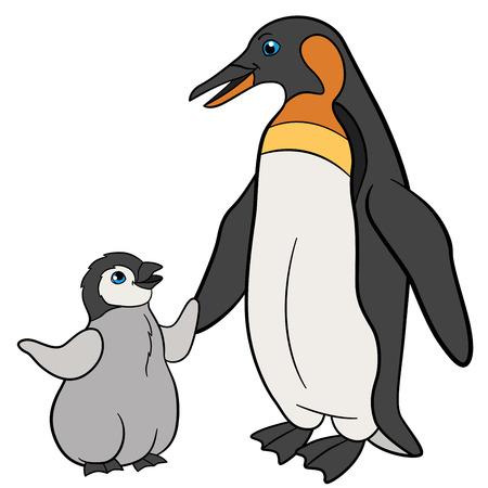Cartoon birds. Mother penguin with her little cute baby penguin.