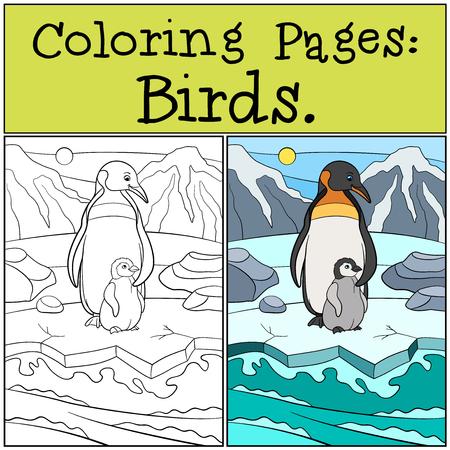 Kleurplaten Van Kleine Vogels.Kleurplaten Vogels Twee Kleine Schattige Pinguins Staan Op Het