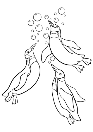 Coloring pages. Three little cute penguins swim and smile. Illustration