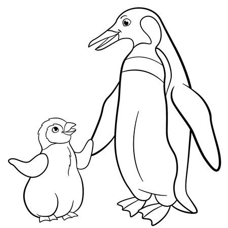 Páginas Para Colorear. Madre Pingüino Con Su Pequeño Bebé Lindo ...