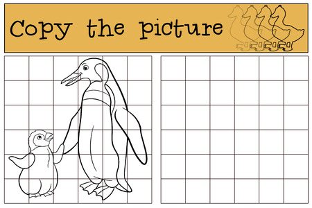 preschool child: Educational game: Copy the picture. Mother penguin with her little cute baby.