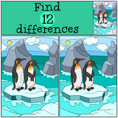 spot the difference: Educational game: Find differences. Two little cute penguins stand on the ice-floe in the ocean and smile.