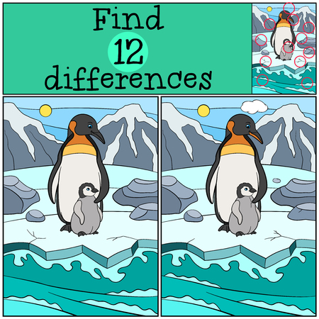 Educational game: Find differences. Mother penguin stands with her little cute baby on the ice and smiles.