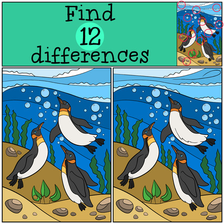 Educational game: Find differences. Three little cute penguins swim underwater and smile.