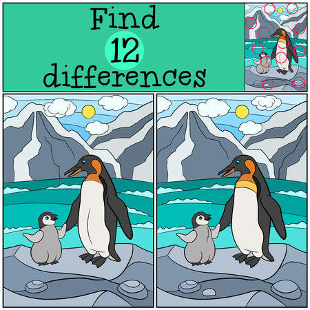 spot the difference: Educational game: Find differences. Mother penguin stands on the stone with her little cute baby penguin.