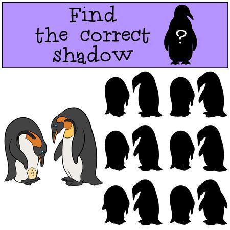 niño preescolar: Juego educativo: Encontrar la sombra correcta. Dos pingüinos lindos miran el huevo y la sonrisa. Vectores