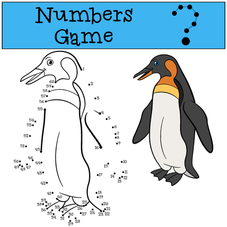 Educational game: Numbers game. Little cute penguin stands and smiles.