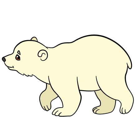 Cartoon animals. Little cute baby polar bear walks and smiles. Illustration