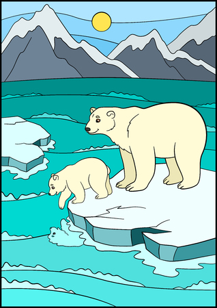 floe: Cartoon animals. Mother bear stands on the ice-floe with her little cute baby and smiles.