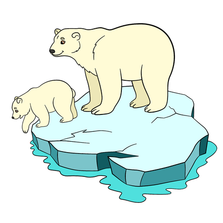 Cartoon animals. Mother polar bear stands on the ice-floe with her little cute baby and smiles.