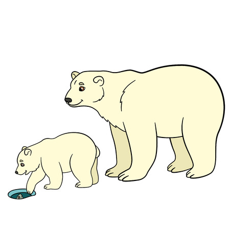 Cartoon animals. Mother polar bear with her little cute baby. Baby bear looks at the fish in the ice-hole.