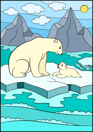 Cartoon animals. Mother bear sits on the ice-floe with her little cute baby and smiles.