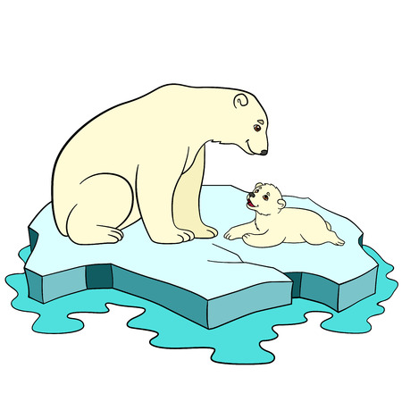 Cartoon animals. Mother polar bear sits on the ice-floe with her little cute baby and smiles.