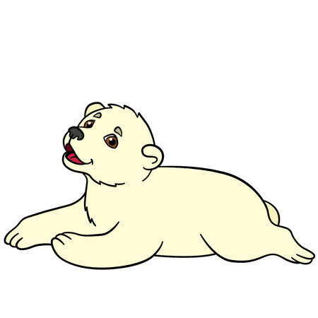 Cartoon Animals Little Cute Baby Polar Bear Smiles He Is Happy