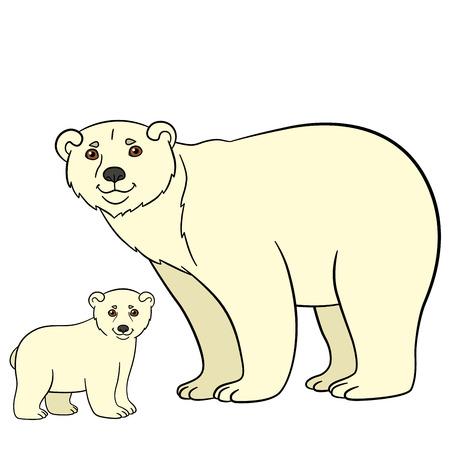 Cartoon animals. Mother polar bear with her little cute baby.