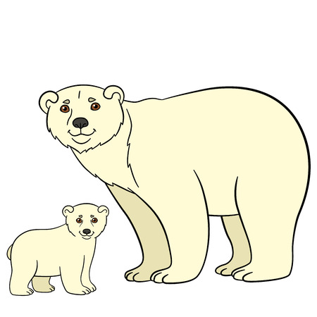 Cartoon animals. Mother polar bear with her little cute baby.