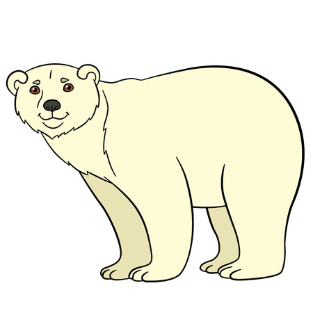 Cartoon animals. Cute polar bear stands and smiles.