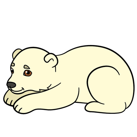 Cartoon animals. Little cute baby polar bear smiles. He is happy.