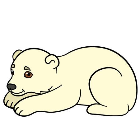 Cartoon animals. Little cute baby polar bear smiles. He is happy.