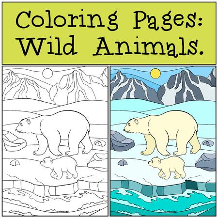 Páginas Para Colorear: Animales Salvajes. Madre Del Oso Polar Se ...