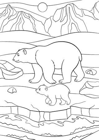 Coloring pages. Mother polar bear walks on the snow with her little cute baby and smiles.