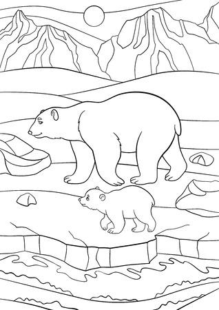 Páginas para colorear. Madre del oso polar camina sobre la nieve con su pequeño bebé lindo y sonrisas.