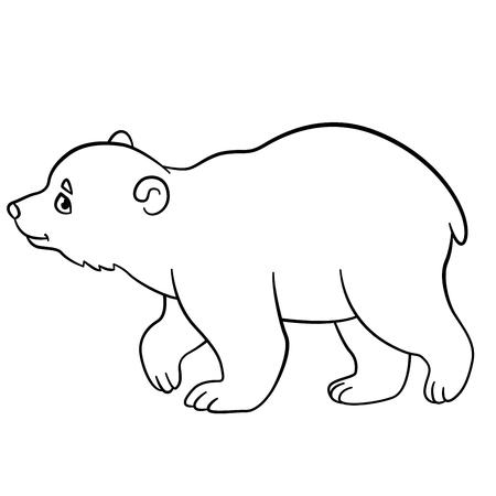 Páginas Para Colorear. Pequeños Puestos De Oso Polar Del Bebé Lindo ...