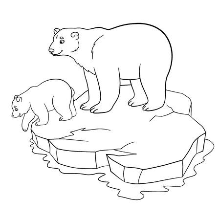 Malvorlagen Mutter Eisbär Steht Auf Der Eisscholle Mit Ihrem