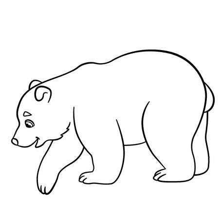 Coloriage. Mignon petit bébé polaires peuplements d'ours et des sourires. Vecteurs