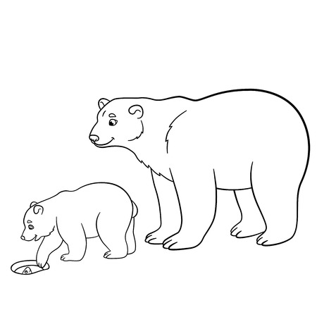 Páginas Para Colorear. Madre Del Oso Polar Con Su Pequeño Bebé Lindo ...