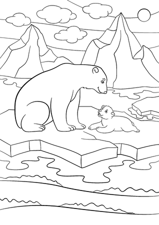Coloring pages. Mother polar bear sits on the ice-floe with her little cute baby and smiles.