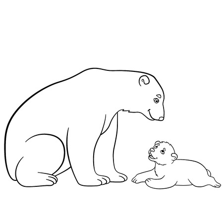 Coloring Pages Mother Polar Bear Sits With Her Little Cute Baby