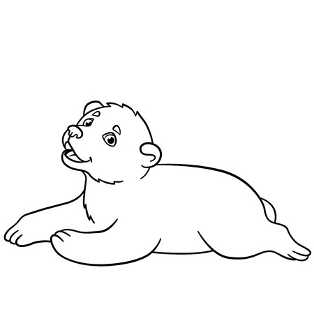 baby bear: Coloring pages. Little cute baby bear smiles. Illustration