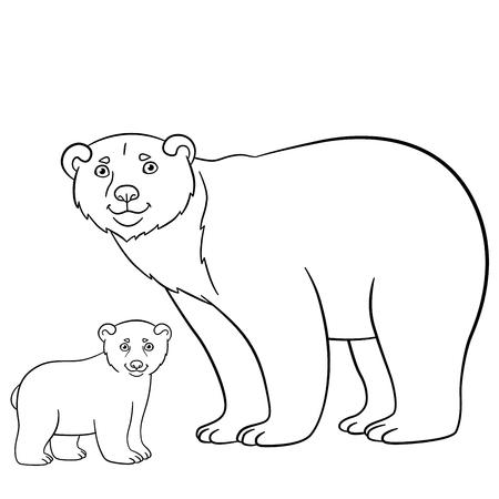Páginas Para Colorear. Madre Del Oso Polar Se Encuentra Con Los ...