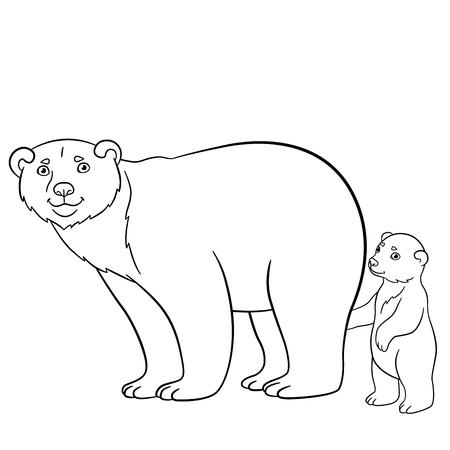 Animales De Dibujos Animados. Madre Del Oso Polar Con Su Pequeño ...