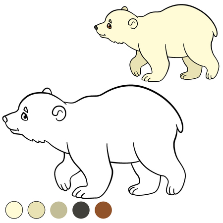 Coloring page. Little cute baby polar bear walks and smiles. Illustration