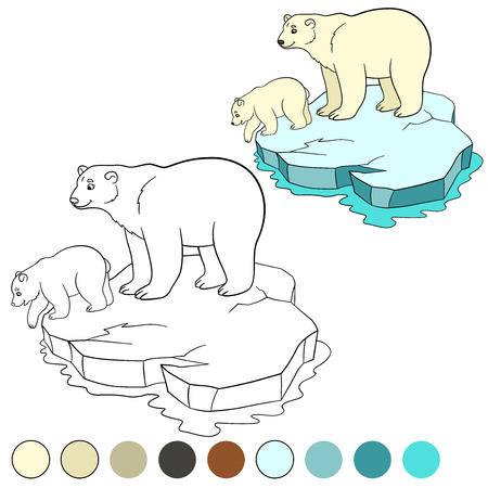 floe: Coloring page. Mother polar bear stands on the ice-floe with her little cute baby and smiles. Illustration