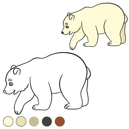 Páginas Para Colorear: Animales Salvajes. Madre Del Oso Polar Camina ...